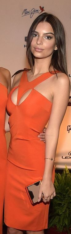 Who made  Emily Ratajkowski's orange cut out dress and gold clutch handbag?