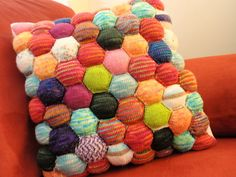A finished Beekeeper's Cushion, if I ever learn to knit