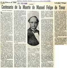 Centenario de la muerte de Manuel Felipe Tovar. Publicado el 21 de febrero de 1966.