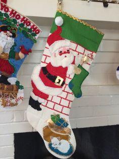 Vintage Christmas Stocking Bucilla felt sequins BLING jeweled