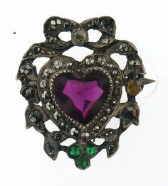 Vintage Edwardian Silver Possible Suffragette Pin Brooch with Purple Heart by villagejewel on Etsy https://www.etsy.com/listing/197690296/vintage-edwardian-silver-possible