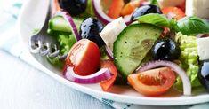 Recette de Salade grecque minceur tomates, feta et olives. Facile et rapide à réaliser, goûteuse et diététique. Ingrédients, préparation et recettes associées.