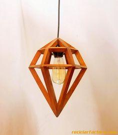 Diamond Pendant Lighting / Ceiling Pendant Light Made from Pallet wood - Hanging Lamp with fixtures Lamp, Ceiling Lights, Wood Glass, Ceiling Pendant Lights, Art Nouveau Lighting, Hanging Lamp, Pendant Light, Light, House Lamp