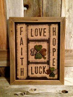 St Patrick's Day Decor 4 Leaf Clover Faith Hope Love by YuppieFrog, $39.50