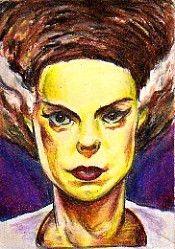 The Bride of Frankenstein. Art by Nick Mockoviak. Color pencils.