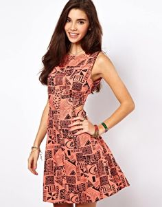 ASOS Sundress In Geo-Tribal Print With Cut Out Back