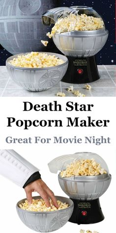 How cool is this Death Star Popcorn Maker? Fun for a Star Wars fan for movie night popcorn.