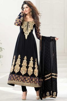 Navy blue and Peach Yellow Viscose and Faux Georgette Anarkali Kameez sareez $78