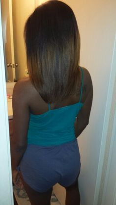 Natural hair silk press. #blowout #mixedhair #ombre