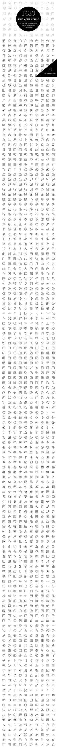 1430 Line Icons Bundle. Clothes Icons. $27.00