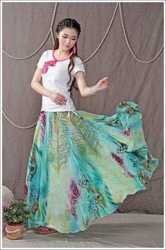 Blue Peacock Chiffon Maxi Skirt High Waisted by LovingbeautyFur