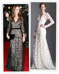 Kate Middleton Inspired Temperley Bridal - Fans and designers alike are taking style cues from the Duchess of Cambridge. In Temperley Bridal introduced a bridal version of Kate Middleton's red carpet premiere look. Who wouldn't want to look like royalty? Long Sleeve Lace Gown, Bridal Fashion Week, White Bridal, Temperley, Wedding Moments, Designer Wedding Dresses, Beautiful Gowns, Celebrity Weddings, Bridal Style
