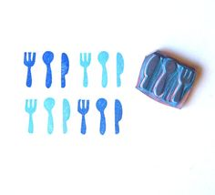 Silverware handmade rubber stamp hand carved by GreenGardenStamps, $7.00