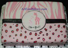 Hand painted pink, black and white fondant zebra, leopard and giraffe girl's baby shower cake by arteatsbakery, via Flickr