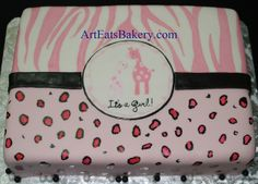 Hand painted pink, black and white fondant zebra, leopard and giraffe girl's baby shower cake by arteatsbakery, via Flickr