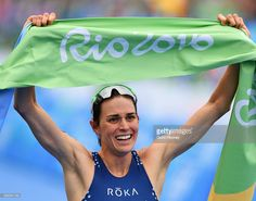 Gwen Jorgensen of the United States celebrates as she wins gold during the Women's Triathlon on Day 15 of the Rio 2016 Olympic Games at Fort Copacabana on August 2016 in Rio de Janeiro, Brazil. (Photo by Quinn Rooney/Getty Images) Gwen Jorgensen, Triathlon Women, Having A Baby Boy, Rio Olympics 2016, Rio 2016, Olympic Games, Role Models, United States, August 20