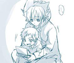 Chibi Mahiru looks so cute!!!! And Kuro kind of looks like a big brother.