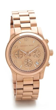 Michael Kors Runway Watch, A borrowed-from-the-boys chronograph watch. Brushed and polished links form the bracelet, and a date wheel details the dial. Michael Kors Runway Watch, Gold Jewelry, Jewelry Accessories, Jewlery, Michael Kors Rose Gold, Mk Bags, Handbags Michael Kors, Mk Handbags, Designer Handbags