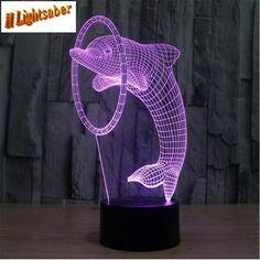 Dolphin 3D lights led colorful lights 0.5W gradient desk lamp #Unbranded #Animal