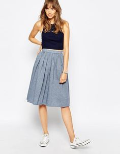 American Apparel | American Apparel Midi Full Woven Skirt at ASOS
