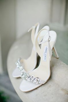white strappy bling high heel wedding shoes