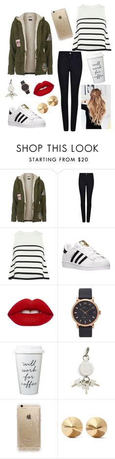 """""""Day💕"""" by tan-zuis ❤ liked on Polyvore featuring Topshop, Armani Jeans, Cardigan, adidas, Lime Crime, Marc Jacobs, Alexander Wang, Rifle Paper Co and Eddie Borgo"""