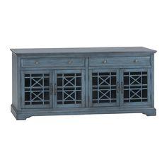 """Craftsman 70"""" TV Console in Antique Blue   Nebraska Furniture Mart"""
