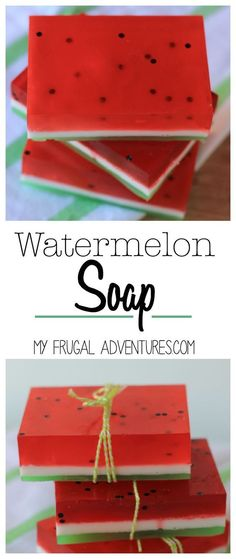 Quick and easy Watermelon Bar Soap- such a fun craft with the kids or homemade gift idea!