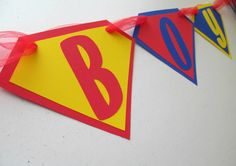 Superman Its A Boy Banner in Red, Blue and Yellow for Baby Shower Decoration / Hospital Room / Baby Room. $16.00, via Etsy.
