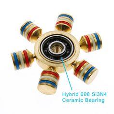 Brass Fidget Spinner Luminous Hybrid 608 Si3N4 Ceramic Bearing EDC Toy ADHD ADD(M17114)