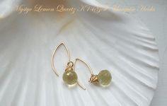 Lemon Quartz Ear Hooks