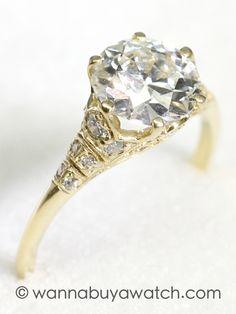 1.83ct Old European Cut Diamond Gold Ring