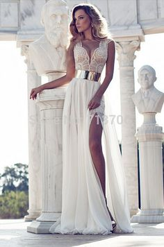2015 Fashion Chiffon Cap Sleeves Lace V-Neck A-Line White Prom Dresses High Slit Sexy Floor-Length Prom Gown Custom Made