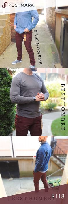 """Slim Chino Pants - Burgundy In collaboration with Original Paperbacks, Best Hombre brings you the Mason Chino pant in Burgundy! Slim leg, made of 100% Cotton Twill. 7"""" leg opening at ankle, slander pockets and a zipper fly. Best Hombre Pants Chinos & Khakis"""