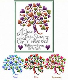 Love Story Wedding - cross stitch pattern designed by Ursula Michael. Cross Stitch Tree, Cross Stitch Heart, Cross Stitch Samplers, Cross Stitch Flowers, Cross Stitch Kits, Cross Stitch Designs, Cross Stitching, Cross Stitch Embroidery, Embroidery Kits
