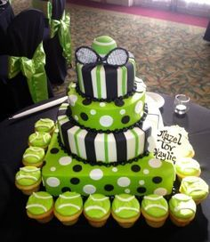 Tennis Theme Party color scheme-Tennis ball green with black and white accents. Like it!