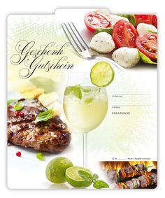 Gutschein für die Gastronomie G2004 für Steaks und leichte Sommerküche Pizzeria, Steaks, Camembert Cheese, Restaurants, Food, Fine Dining, Gifts, Beef Steaks, Steak