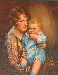 """""""God's Greatest Gift"""" ~ Gene Pressler, ca. Mother And Father, Mother Gifts, Vintage Images, Vintage Art, Dear Dad, Baby Painting, Canvas Prints, Art Prints, Famous Artists"""
