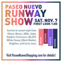 Dreamy sleepwear, edgy active wear, and day-to-night looks hit the runway on Sat., Nov. 7 as the shops at Paseo Nuevo present their fall collections. http://sbseasons.com/2015/11/the-catwalk-comes-to-santa-barbara-for-the-fall-2015-paseo-nuevo-runway-show/ #sbseasons #sb #santabarbara #SBSeasonsMagazine #PaseoNuevo #SBStyle To subscribe visit sbseasons.com/subscribe.html