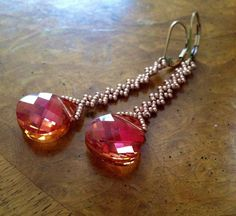 Swarovski long Pink crystal earrings by AmyKanarekDesigns on Etsy