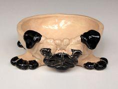 Personalized Dog Bowl Pug Ceramic Dog Bowl by AnimaliaCeramic