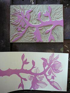 Making Handmade Books: Reduction Print: Linoleum Block Becomes a Magnolia Branch