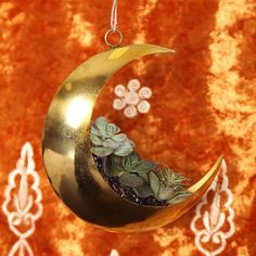 Restocked - the Golden Moon Ornament  Great for holiday decor or a fun planter! #gypsywarrior