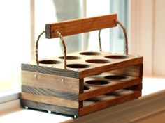 Handmade Wood 6Bottle Beer Carrier Homebrew Gift by jupalada