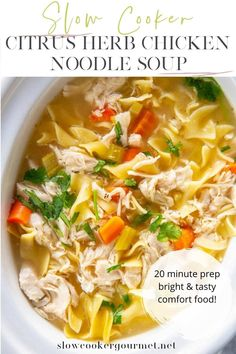 Looking for some true comfort food to get you through this cold and dreary winter season? This Slow Cooker Chicken Noodle Soup is bright and tasty with the addition of fresh juices for a flavor explosion! #slowcooker #chickennoodlesoup Recipe Using Chicken, Yummy Chicken Recipes, Yum Yum Chicken, Soup Recipes, Gourmet Recipes, Dinner Recipes, Healthy Slow Cooker, Slow Cooker Soup, Slow Cooker Chicken
