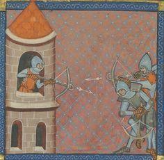 Soldat mit Armbrust, BNF Arsenal 5080 Speculum Historiale, fol. 349v, 1335, Paris.