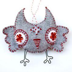 Handstiched Felt Owl Ornament heather grey with by RawBoneStudio, $17.50