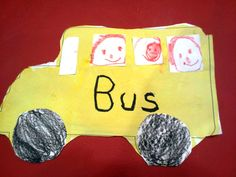 I just used a template off line for a school bus.  Children painted yellow.  They drew faces in white squares. Colored circles black. When paint is dry they added the windows, wheels and also the word bus.