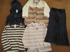 Gymboree Girls Size 6 Lot of 5 Pieces Sweater T Shirts Pants Vest Bling Stripes #Gymboree #Everyday