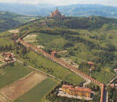 Sanctuary of the Madonna of San Luca, Bologna, Italy. A covered walking route of 3.5 kms consists of 666 arches.